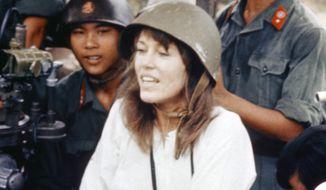 Jane Fonda, visits anti-aircraft gun position near Hanoi, Vietnam, July 1, 1972. (AP Photo)
