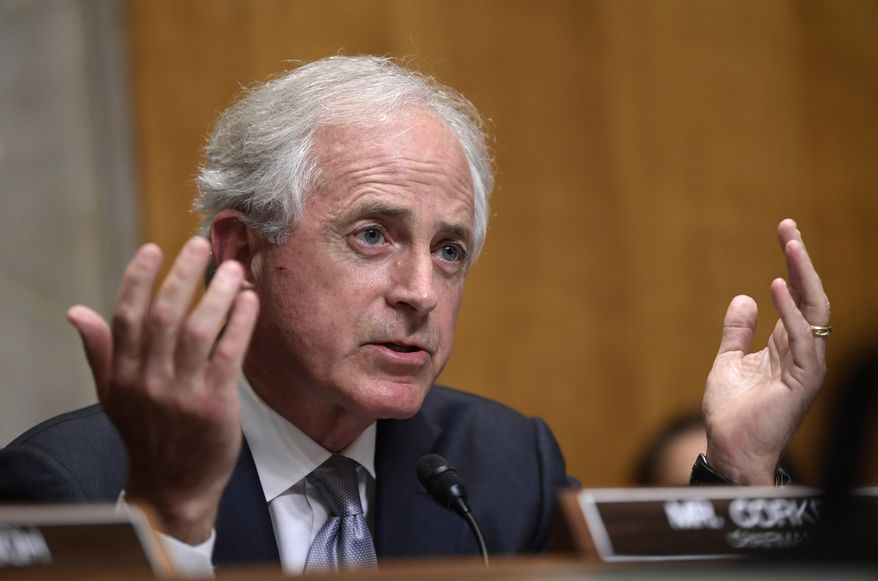 Sen. Bob Corker, R-Tenn., questions Secretary of State Mike Pompeo as he testifies before the Senate Foreign Relations Committee on Capitol Hill in Washington, Wednesday, July 25, 2018, during a hearing on diplomacy and national security. (AP Photo/Susan Walsh) ** FILE **