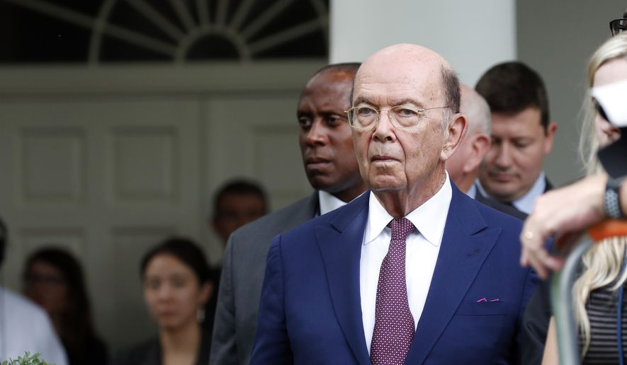 Commerce Secretary Wilbur Ross stands as President Donald Trump and European Commission president Jean-Claude Juncker speak in the Rose Garden of the White House, Wednesday, July 25, 2018, in Washington.(AP Photo/Alex Brandon) ** FILE **