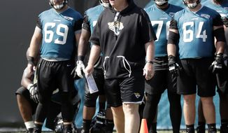 FILE - In this June 12, 2018, file photo, Jacksonville Jaguars head coach Doug Marrone, center, watches players go through drills during an NFL football practice  in Jacksonville, Fla. The Jaguars are entering the franchise's most anticipated season in decades. (AP Photo/John Raoux, File)