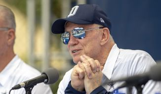 "Dallas Cowboys owner Jerry Jones takes questions during the ""state of the team"" press conference at the start of the team's NFL training camp, Wednesday, July 25, 2018, in Oxnard, Calif. (AP Photo/Gus Ruelas)"