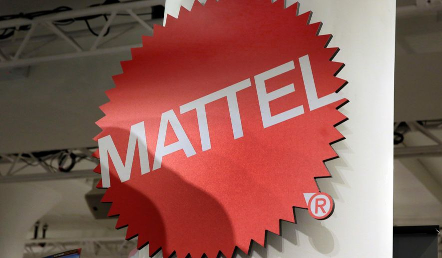 This April 26, 2018, file photo shows the Mattel logo at the TTPM 2018 Spring Showcase in New York. Mattel says it will cut 2,200 jobs as the maker of Barbie dolls and Hot Wheels cars tries to save money. (AP Photo/Richard Drew, File)