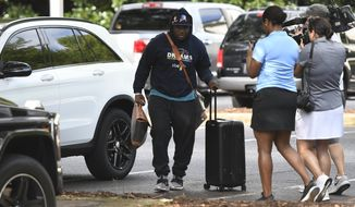 Carolina Panthers running back C.J. Anderson arrives for NFL football training camp at Wofford College in Spartanburg, S.C., Wednesday, July 25, 2018. (David T. Foster III/The Charlotte Observer via AP)