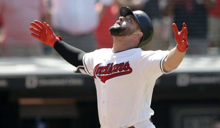 Cleveland Indians' Yonder Alonso looks up after hitting a two-run home run off Pittsburgh Pirates relief pitcher Felipe Vazquez in the eighth inning of a baseball game, Wednesday, July 25, 2018, in Cleveland. Jose Ramirez scored on the play. The Indians won 4-0. (AP Photo/Tony Dejak)
