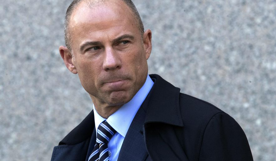 FILE - In this April 26, 2018 file photo, Michael Avenatti, attorney for Stormy Daniels, who alleges she had an affair with President Donald Trump, leaves federal court in New York after a hearing for Michael Cohen, Trump's personal attorney. Avenatti, the attorney who's garnered national attention demanding transparency as one of President Donald Trump's chief critics, convinced a federal judge to bar the media from covering a bankruptcy court case involving his former law firm. Bankruptcy Judge Catherine Bauer allowed Avenatti to give testimony Wednesday, July 25 behind closed doors. In May, Eagan Avenatti, was ordered to pay $10 million to a lawyer who claimed that the firm misstated its profits and he was owed millions. (AP Photo/Mary Altaffer, File)