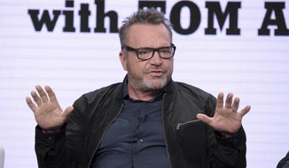 """Host and executive producer Tom Arnold participates in Viceland's """"The Hunt for the Trump Tapes with Tom Arnold"""" panel during the Television Critics Association Summer Press Tour at The Beverly Hilton hotel on Thursday, July 26, 2018, in Beverly Hills, Calif. (Photo by Richard Shotwell/Invision/AP)  ** FILE **"""