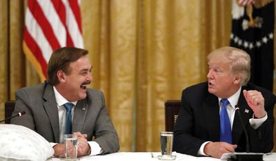 Mike Lindell, inventor of My Pillow, is now backing Hollywood films which suit his pro-life beliefs.  He has also been a friend and supporter to President Trump, shown here in a 2018 appearance at the White House.(AP Photo/Alex Brandon)
