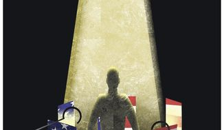 Illustration on restoring religious liberty by Alexander Hunter/The Washington Times