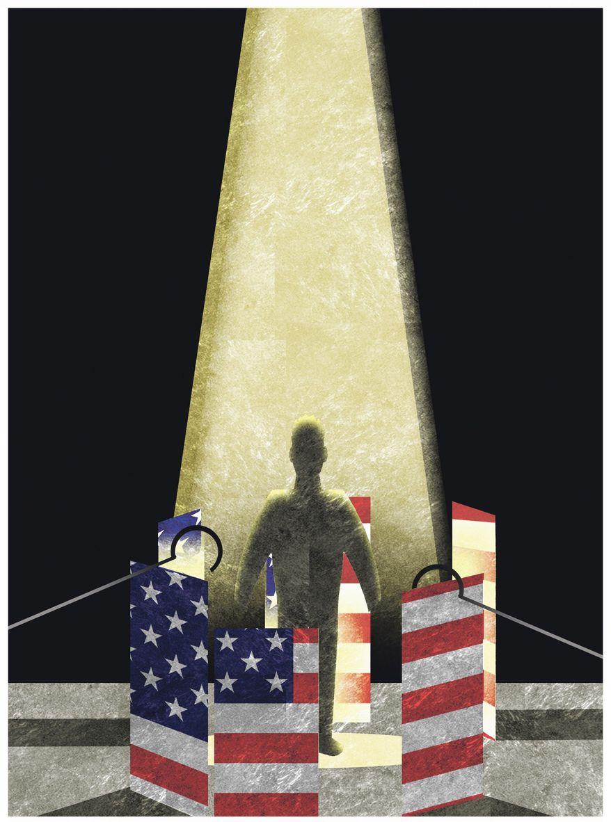 Illustration on restoring religious liberty by Alexander Hunter/The Washington Times