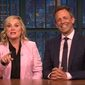 "Late-night comedian Seth Meyers and former ""Saturday Night Live"" comedian Amy Poehler took turns Wednesday night roasting former FBI Director James Comey for giving ""unsolicited advice"" to Democrats going into the midterm elections. (YouTube/Late Night with Seth Meyers)"
