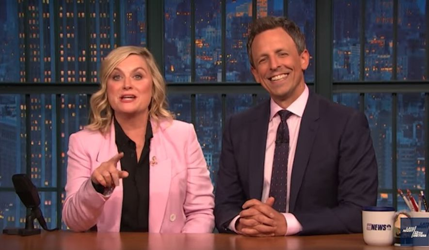 """Late-night comedian Seth Meyers and former """"Saturday Night Live"""" comedian Amy Poehler took turns Wednesday night roasting former FBI Director James Comey for giving """"unsolicited advice"""" to Democrats going into the midterm elections. (YouTube/Late Night with Seth Meyers)"""
