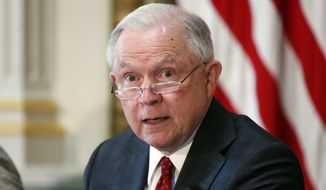 Attorney General Jeff Sessions speaks during a meeting of the Federal Commission on School Safety in the Indian Treaty Room of the Eisenhower Executive Office Building, Thursday, July 26, 2018, in Washington. (AP Photo/Alex Brandon)
