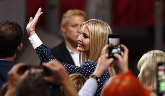 Ivanka Trump waves during a visit to the United States Steel Granite City Works plant Thursday, July 26, 2018, in Granite City, Ill. (AP Photo/Jeff Roberson) ** FILE **