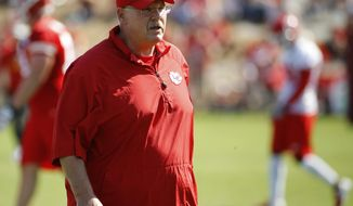 Kansas City Chiefs coach Andy Reid watches a drill during NFL football training camp Thursday, July 26, 2018, in St. Joseph, Mo. (AP Photo/Charlie Riedel)
