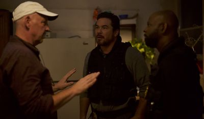 Nick Searcy discussing scene with Dean Cain and Alfonzo Rachel on the set of Gosnell gosnellmovie.com