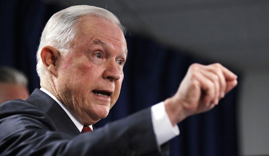 U.S. Attorney General Jeff Sessions gestures during a news conference at the Moakley Federal Building in Boston, Thursday, July 26, 2018. (AP Photo/Charles Krupa) ** FILE **