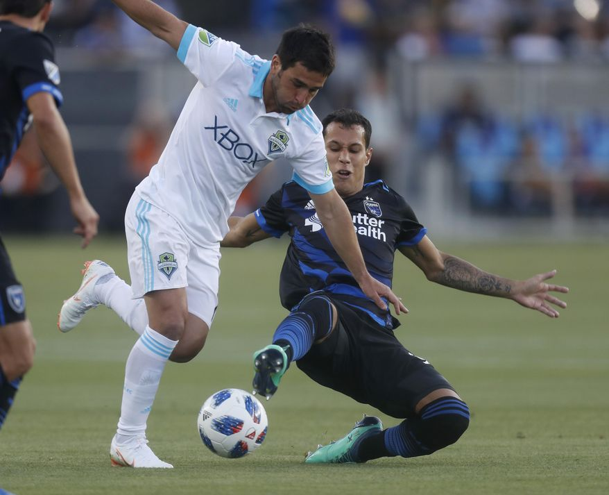 San Jose Earthquakes' Luis Felipe, right, fights for the ball against Seattle Sounders' Nicolas Lodeiro during the first half of an MLS soccer match in San Jose, Calif., Wednesday, July 25, 2018. (Nhat V. Meyer/San Jose Mercury News via AP)