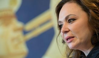 In this file photo taken on April 22, 2018, Russian lawyer Natalia Veselnitskaya speaks during an interview with The Associated Press in Moscow, Russia. (AP Photo/Dmitry Serebryakov, File)