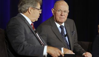 Retiring U.S. Supreme Court Justice Anthony Kennedy, right, takes a question from District Judge Edward J. Davila, left, during the Ninth Circuit Judicial Conference in Anaheim, Calif., Thursday, July 26, 2018. Kennedy announced his retirement in June saying he wants to spend more time with his family. He has been in recent years the Supreme Court's decisive vote in contentious cases on issues such as gay rights and abortion. (AP Photo/Alex Gallardo)