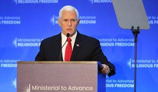 "Vice President Mike Pence speaks at the close of a three-day conference on religious freedom at the State Department in Washington, Thursday, July 26, 2018. Shortly after the possibility of sanctions was first announced by Vice President Mike Pence Thursday, Trump wrote on Twitter that the U.S. ""will impose large sanctions on Turkey for their long time detainment of Pastor Andrew Brunson.""  (AP Photo/Manuel Balce Ceneta)"
