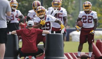 Washington Redskins running back Derrius Guice (29) runs drills during the morning session of NFL football training camp in Richmond, Va., Friday, July 27, 2018. (AP Photo/Steve Helber)