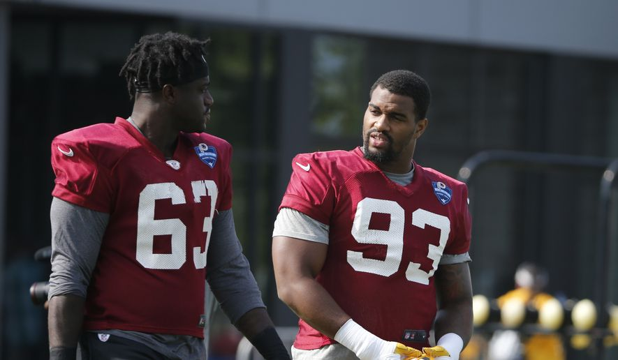 Washington Redskins offensive tackle John Kling (63) and defensive end Jonathan Allen (93) walk to the field for the morning session of the Redskins NFL football training camp in Richmond, Va., Friday, July 27, 2018. (AP Photo/Steve Helber)