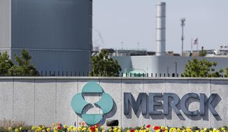 FILE - This May 1, 2018 file photo shows Merck corporate headquarters in Kenilworth, N.J.  Merck & Co. on Friday, July 27 reported second-quarter profit of $1.71 billion. The Kenilworth, New Jersey-based company said it had profit of 63 cents per share. Earnings, adjusted for costs related to mergers and acquisitions and restructuring costs, were $1.06 per share. (AP Photo/Seth Wenig, File)
