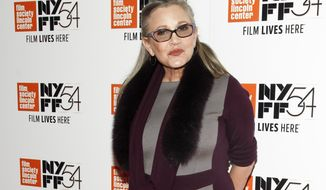 "FILE - In this Monday, Oct. 10, 2016, file photo, actress Carrie Fisher attends a special screening of, ""Bright Lights: Starring Carrie Fisher and Debbie Reynolds,"" at Alice Tully Hall in New York. J.J. Abrams says he will use unreleased footage of Fisher in the next ""Star Wars"" film to give the latest trilogy a ""satisfying conclusion."" Lucasfilm and writer-director Abrams announced Friday, July 27, 2018, that footage Fisher shot for 2015's ""Star Wars: The Force Awakens"" will be used in the ninth film in the space opera's core trilogies about the Skywalker family. (Photo by Andy Kropa/Invision/AP, File)"