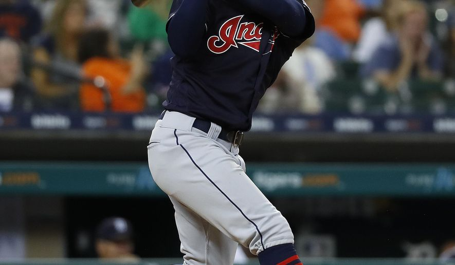 Cleveland Indians' Francisco Lindor hits a solo home run against the Detroit Tigers in the ninth inning of a baseball game in Detroit, Friday, July 27, 2018. (AP Photo/Paul Sancya)
