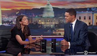 """New York congressional candidate and self-described democratic socialist Alexandria Ocasio-Cortez explained on """"The Daily Show"""" Wednesday night how she plans to pay for some of her platform policies like free health insurance and education for all. (Comedy Central)"""