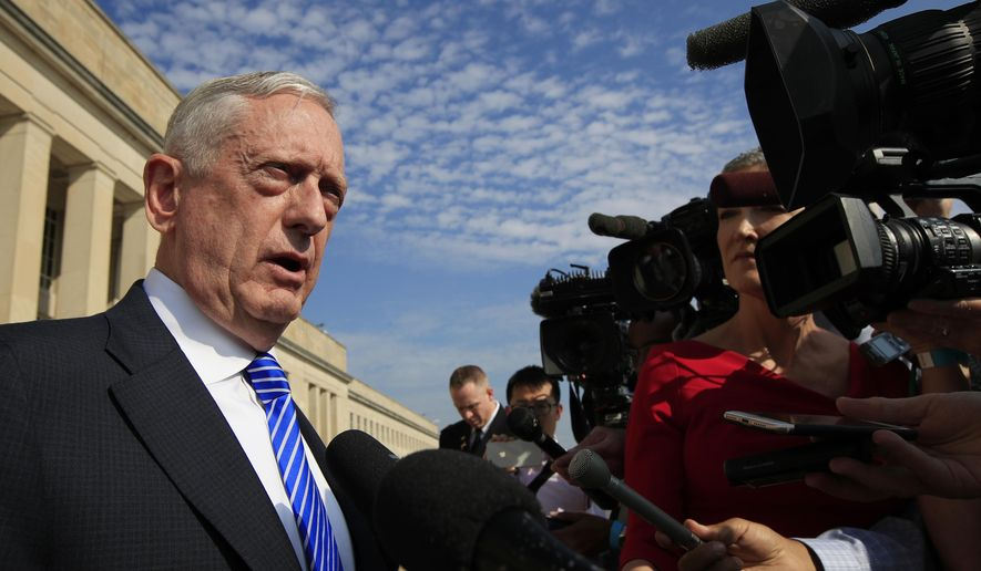 Secretary of Defense Jim Mattis, speaks to reporters at the Pentagon, Friday, July 27, 2018. (AP Photo/Manuel Balce Ceneta) ** FILE **