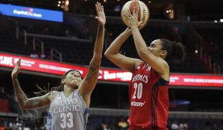 FILE - In this Sept. 17, 2017, file photo, Minnesota Lynx guard Seimone Augustus (33) defends against Washington Mystics guard Kristi Toliver (20) during the second half of Game 3 of the WNBA basketball semifinals in Washington. Toliver didn't really know former WNBA coach Anne Donovan, who died last month. Yet she liked what the Hall of Famer stood for and will be playing for one of Donovan's favorite charities when she competes in the 3-point shootout on Saturday. (AP Photo/Pablo Martinez Monsivais, File)