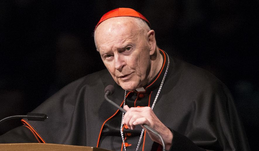 "In this Wednesday, March 4, 2015, file photo, Cardinal Theodore Edgar McCarrick speaks during a memorial service in South Bend, Ind. Pope Francis has accepted U.S. prelate Theodore McCarrick's offer to resign from the College of Cardinals following allegations of sexual abuse, including one involving an 11-year-old boy, and ordered him to conduct a ""life of prayer and penance"" in a home to be designated by the pontiff until a church trial is held, the Vatican said Saturday, July 28, 2018. (Robert Franklin/South Bend Tribune via AP, Pool, File)"