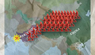 Chinese Invasion of Pakistan Illustration by Greg Groesch/The Washington Times