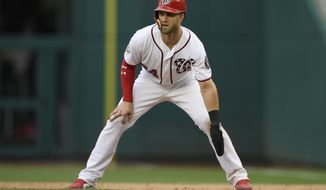 Washington Nationals' Bryce Harper takes a lead during the sixth inning of a baseball game against the Atlanta Braves, Sunday, July 22, 2018, in Washington. (AP Photo/Nick Wass)