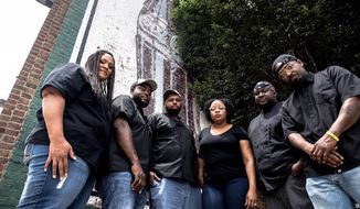 Courtesy of Jonathan Cooper  The six founders of Soul Food Sessions, a Charlotte-based nonprofit focused on increasing awareness and opportunity for black chefs across the country, speak at an event in the District on Thursday. Pictured from left to right: Jamie Suddoth, Michael Bowling, Greg Collier, Subrina Collier, Jamie Barnes and Greg Williams.