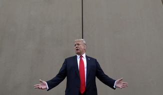 President Donald Trump speaks during a tour as he reviews border wall prototypes in San Diego. Trump said Sunday, July 29, 2018, that he would consider shutting down the government if Democrats refuse to vote for his immigration proposals, including building a wall along the U.S.-Mexico border.  (AP Photo/Evan Vucci, File)