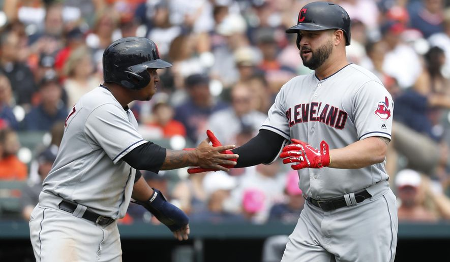 Cleveland Indians' Yonder Alonso, right, is congratulated by Jose Ramirez after hitting a two-run home run in the third inning of a baseball game against the Detroit Tigers in Detroit, Sunday, July 29, 2018. (AP Photo/Paul Sancya)