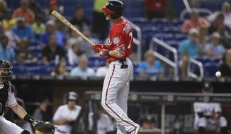 Washington Nationals' Trea Turner reacts after being hit by the ball during an at-bat in the third inning of a baseball game against the Miami Marlins, Sunday, July 29, 2018, in Miami. (AP Photo/Brynn Anderson)