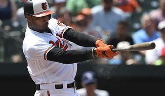 Baltimore Orioles' Adam Jones follows through on a single against the Tampa Bay Rays in the fourth inning of a baseball game, Sunday, July 29, 2018, in Baltimore. (AP Photo/Gail Burton) ** FILE **