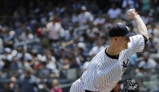 New York Yankees' J.A. Happ delivers a pitch during the first inning of a baseball game against the Kansas City Royals, Sunday, July 29, 2018, in New York. (AP Photo/Frank Franklin II) **FILE**