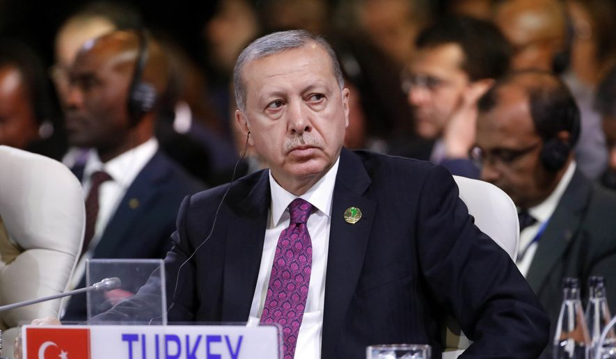 Turkey's President Tayyip Erdogan attends the last day of the BRICS Summit in Johannesburg, South Africa, Friday, July 27, 2018. (Mike Hutchings/Pool Photo via AP) ** FILE **