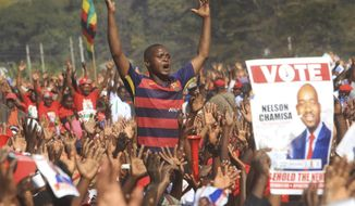 An opposition party supporter reacts during Nelson Chamisas last rally in Harare, Saturday, July, 28, 2018. Zimbabwean President Emmerson Mnangagwa and main challenger Nelson Chamisa held final campaign rallies Saturday ahead of Mondays election in a country seeking to move past decades of economic and poltical paralysis. (AP Photo/Tsvangirayi Mukwazhi)