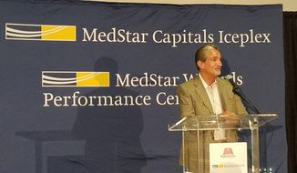 Ted Leonsis, CEO and majority owner of Monumental Sports and Entertainment, announces the new naming rights partnership between his firm's teams and MedStar Health in Arlington, Virginia on Monday, July 30, 2018. (Photo by Adam Zielonka / The Washington Times)