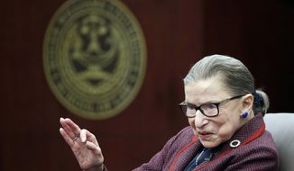 "In this Jan. 30, 2018, file photo Supreme Court Justice Ruth Bader Ginsburg answers a law student's question as she participates in a ""fireside chat"" in the Bruce M. Selya Appellate Courtroom at the Roger William University Law School in Bristol, R.I. (AP Photo/Stephan Savoia, File)"