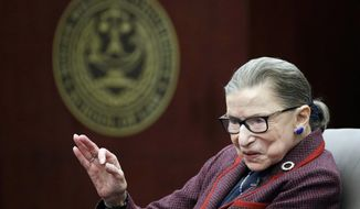 """FILE - In this Jan. 30, 2018, file photo Supreme Court Justice Ruth Bader Ginsburg answers a law student's question as she participates in a """"fireside chat"""" in the Bruce M. Selya Appellate Courtroom at the Roger William University Law School in Bristol, R.I. For more than a decade, audiences and interviewers have had one pressing question for Ginsburg: When will you retire? (AP Photo/Stephan Savoia, File)"""