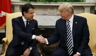 President Donald Trump meets with Italian Prime Minister Giuseppe Conte in the Oval Office of the White House, Monday, July 30, 2018, in Washington. (AP Photo/Evan Vucci)
