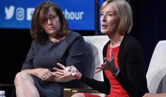 """Judy Woodruff, right, anchor and managing editor of """"PBS Newshour,"""" takes part in a panel discussion with the show's executive producer Sara Just during the 2018 Television Critics Association Summer Press Tour at the Beverly Hilton, Tuesday, July 31, 2018, in Beverly Hills, Calif. (Photo by Chris Pizzello/Invision/AP)"""