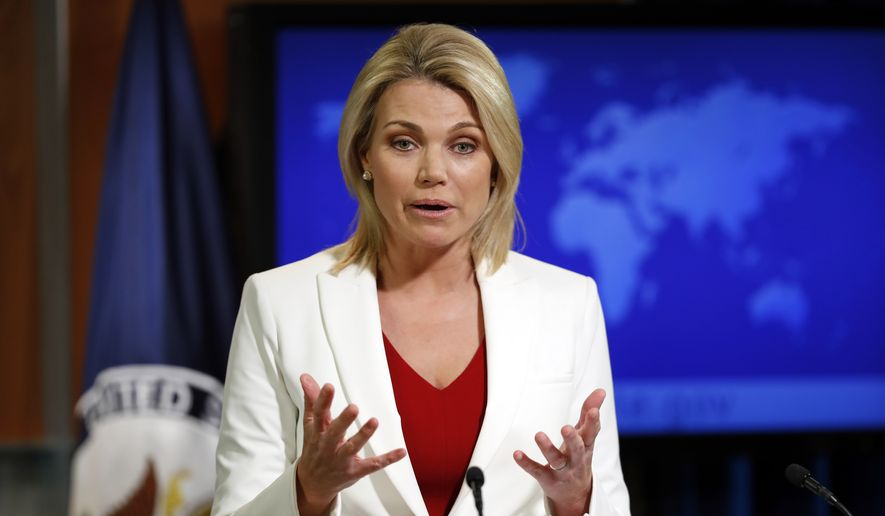 """State Department spokeswoman Heather Nauert speaks during a briefing at the State Department in Washington, Wednesday, Aug. 9, 2017. The State Department says President Donald Trump is """"on the same page"""" with the rest of U.S. government with his fiery threat to North Korea. Nauert said the White House, State Department and Pentagon are all in agreement. She says the world, too, is speaking with one voice. (AP Photo/Alex Brandon) **FILE**"""