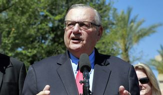 Former Maricopa County Sheriff Joe Arpaio speaks during a campaign event in Phoenix. (AP Photo/Matt York, File)